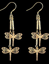 Dragonfly-Shaped Alloy Earrings Gold (1Pair)