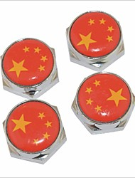 DIY Chinese Flag Pattern Universal Metal License Plate Bolt Screw Caps for Car