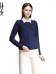 Women's Blue Pullover , Casual/Lace Long Sleeve