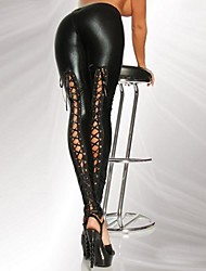 Women's European Style High Waist Multi Ties Faux Leather PU Leggings