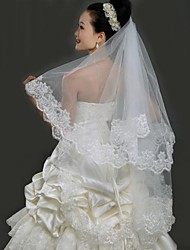 Three-tier Elbow Wedding Veils With Applique  Edge