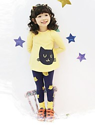 Girl's Clothing Set,Cotton Winter / Spring / Fall Pink / Yellow