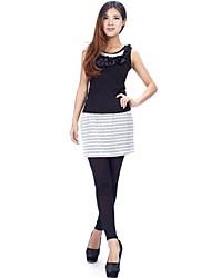 модной стильной поддельные 2шт полоса юбка брюки серого