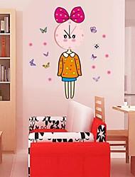 Wall Clock adesivos adesivos de parede, encantadores de parede de pvc menina adesivos