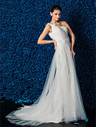 Sheath / Column Wedding Dress Court Train One Shoulder Satin