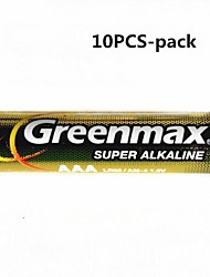 10шт Greenmax 1.5V AAA щелочные батареи