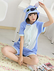Kigurumi Pajamas Monster Leotard/Onesie Halloween Animal Sleepwear Blue Patchwork Cotton Kigurumi Unisex Halloween / Carnival