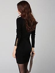De las mujeres Tallas Grandes Vestido Tallas Grandes / Casual Un Color Sobre la rodilla Escote Redondo Poliéster