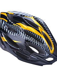 moda unisex y de alta transpirabilidad pvc + epp casco de bicicleta con visera desmontable (21vents) - amarillo claro + negro