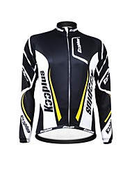 KOOPLUS Unisex Winter Cycling Clothing Long Sleeve Thermal Fleece Cycling Jersey--Black+White