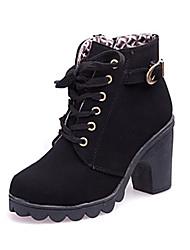 Calçados Femininos - Botas - Arrendondado / Botas da Moda - Salto Grosso - Preto / Marrom / Amarelo - Couro Sintético - Social