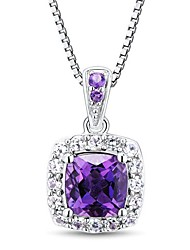 Women's Classic Sterling Silver with Amethyst and White Crystal Necklace