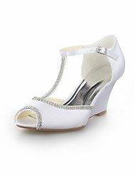 Women's Wedding Shoes Wedges/Peep Toe/T-Strap Sandals Wedding Black/Blue/Yellow/Pink/Purple/Red/Ivory/White/Silver/Champagne