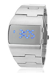 Men's Futuristic Blue LED Digital Silver Steel Band Wrist Watch