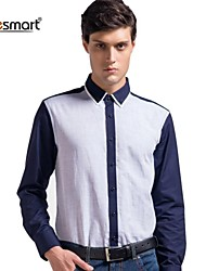 Lesmart Men's Business Casual Long-sleeved Cotton Shirt Blue Stitching
