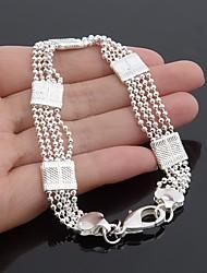 Classic Fashion 925 Silver Plated Flat Men's Bracelet 23CM (1PC)
