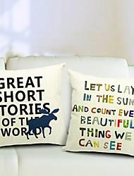 набор 2 предложения ситец / льняной декоративный подушки крышки