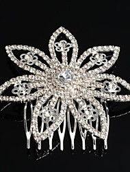 Fashion Silver Plated Flower Crystal Bridal Hair Comb