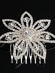 Mode versilbert Blume Kristall Braut Haarkamm