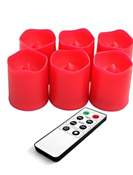 Set of 6 Red Color Plastic LED Votive Candles with Remote and Timer