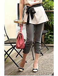 Leisure Fashion Bowknot Embellished Pure Color Seven Pants Gray&Green