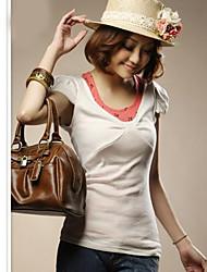 новое прибытие Корея V шеи слоеного рукав футболка белый
