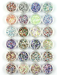 24PCS Mixed Nail Art Glitter Powder Nail Art Foil Powder Arylic Powder for Nail Decorations