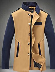 Männer alle übereinstimmen Stehkragen Kontrastfarbe Tweedmantel