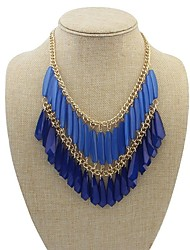 Women's Double Drops Tassel Exaggeration Bib Statement Necklace