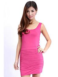moda elegante vestido plissado puro sem mangas de cor rosa