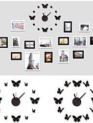 Wall Clock adesivos adesivos de parede, parede de moda borboleta eva adesivos