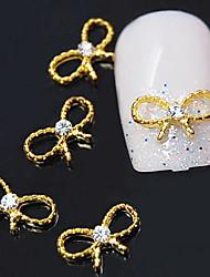 10шт золотой бантом 3d сплава ясно горный хрусталь ногтей украшения