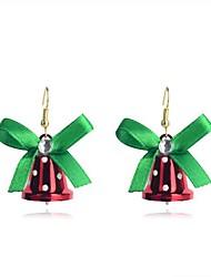 lureme modeweihnachts bowknot roten kleine Glocke anez Legierungstropfenohrringe