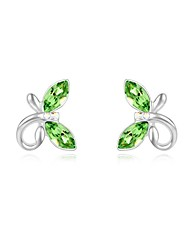 Women's Crystal Embeded Butterfly Shape Platinum-plated Alloy Stud Earrings (More Colors)