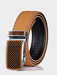 Men's Genuine Leather Belt Brown Automatic Buckle Cintos Belts