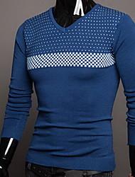 Tony Men's New V-neck Dots Long Sleeve Bottoming Sweater