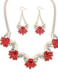 z&X® moda colar e brincos de conjunto de jóias (1 jogo, 3 cores opções: azul, vermelho, verde)