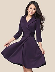 todo vestido de manga 3/4 partido de v cuello de color sólido estilo del ol de las mujeres cyc