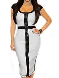 blanco negro vestido midi bodycon cóctel ocasional de la oficina de la mujer