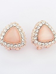 Women's Triangle Opal Beaded Rhinestone Pave Elegant Stud Earrings