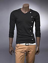 tune Herren Langarm dünnen Art und Weise V-Ausschnitt einfachen T-Shirt