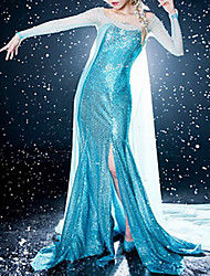 Frozen Elegant Princess Elsa Blue Dress Cosplay Costume