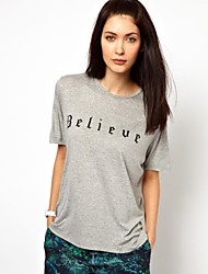 Women's Letter Gray T-shirt , Beach/Casual/Print/Cute/Party/Work Crew Neck Short Sleeve