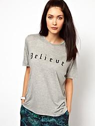 여성의 인쇄 슬림 티셔츠