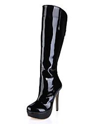 zapatos de las mujeres del dedo del pie plataforma de tacón de aguja de patentes de la rodilla de cuero redondo botas altas con cremallera