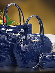 n-pai Frauen alle übereinstimmen einfarbig Leder dreiteiliger Tasche