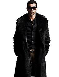 Men's Plus Size Solid Black Fur Coat,Long Sleeve