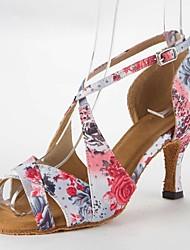 Латинской женские сандалии сатин стилет каблук Баки танцевальной обуви