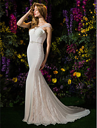 LAN TING BRIDE Trumpet / Mermaid Wedding Dress See-Through Chapel Train Scoop Lace Georgette withAppliques Beading Button Criss-Cross