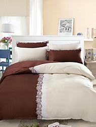 funda nórdica conjunto, café&blanco colores de seda mezclada hotel suministros funda nórdica fijó 4 PC doble de tamaño completo de la reina